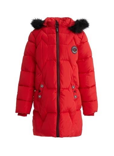 DeFacto Kız Çocuk Armalı Kapüşonlu Fermuarlı Uzun Mont Kırmızı